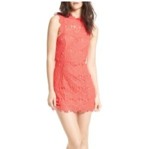 Free People Daydream Lace Mini Dress in Coral